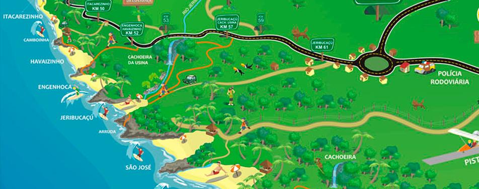 Mapa das Praias Rurais de Itacaré, Bahia, Brasil.